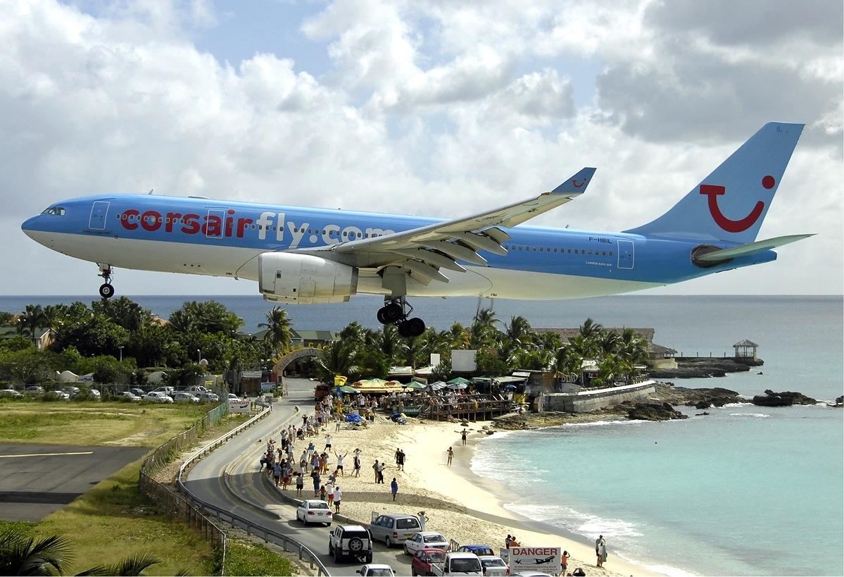 11 -  Plane landing at Maho Beach in St. Maarten