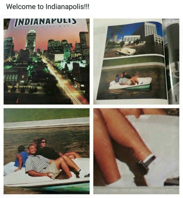 29 - Tourist pamphlet from Indianapolis with pic of someone having fun in a pedal boat and if you look closely he is wearing a tracking bracelet on his ankle.