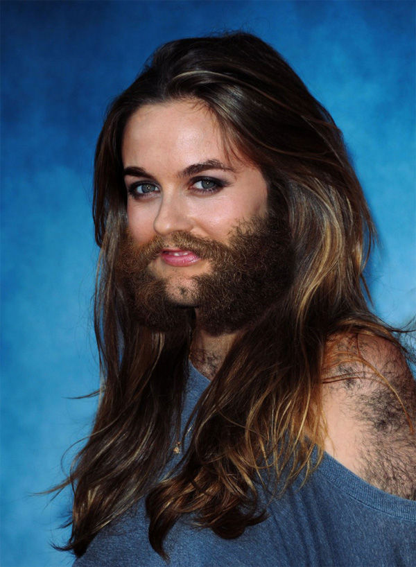 Where Female celebrities with facial hair something