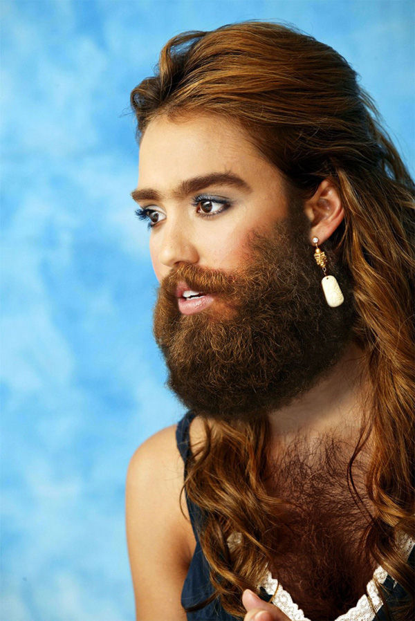 Female celebrities with facial hair can not