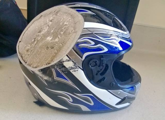 """10 - """"A friend of a friend got into a motorcycle accident at 70 mph and hit a bus. This is his helmet."""""""