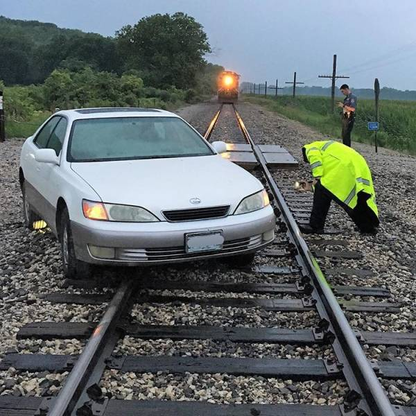 """16 - """"Luckily, personnel saw the vehicle stuck on the railroad tracks and were able to get the train stopped just in time."""""""