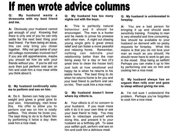 funny sex advice columns in Boise