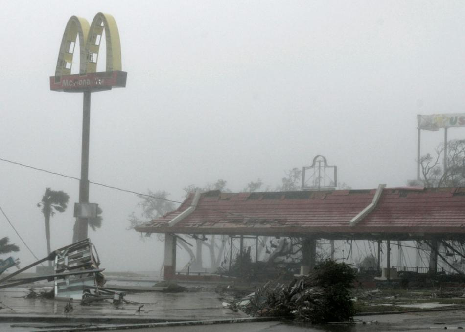 11 - A McDonalds Restaurant on US 90 in Biloxi, Mississippi, which sits across the road from the Gulf of Mexico, completely gutted during Hurricane Katrina