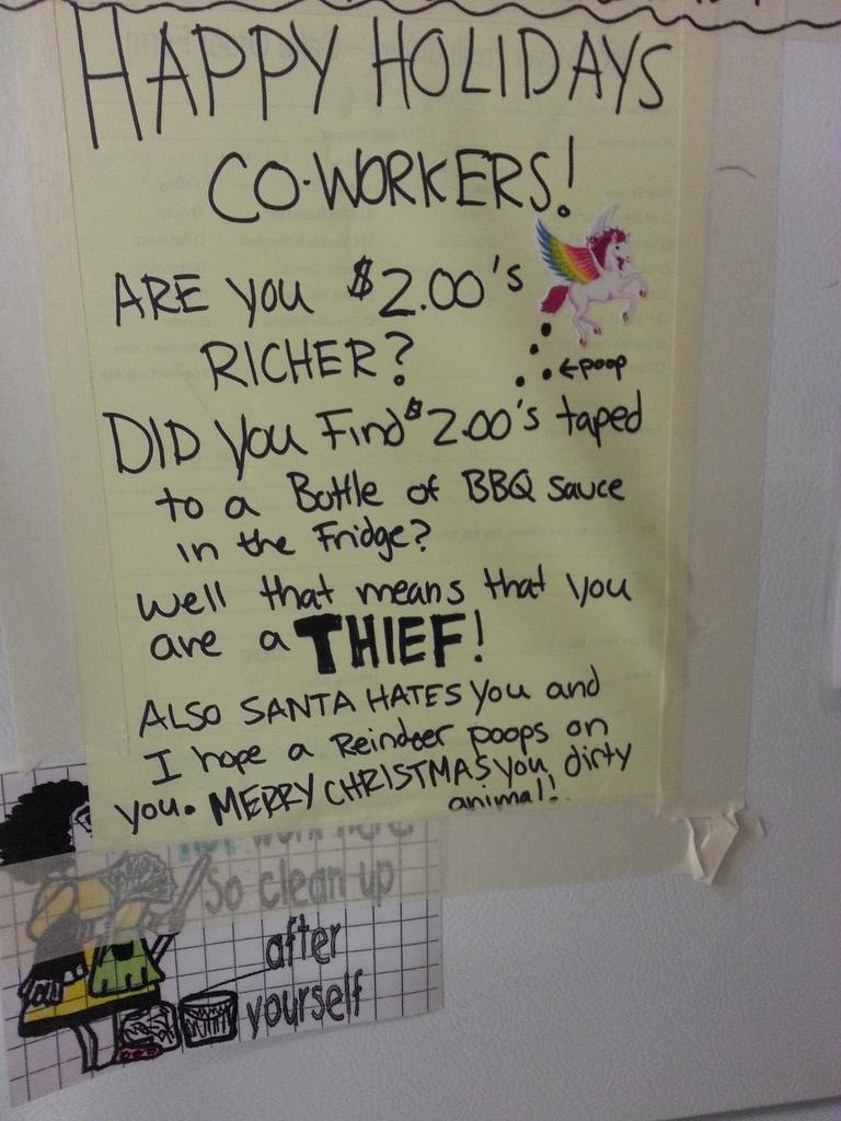 16 Fridge Notes That Prove Your Coworkers Suck Gallery