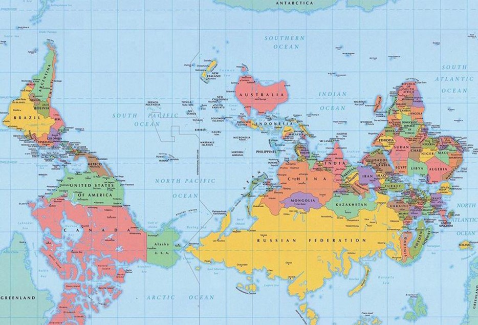 49 maps may change how you view the world pop culture gallery 11 theres no up or down in space this is the south up gumiabroncs Image collections