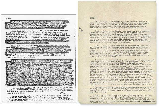 11 - Letter sent from the FBI to Martin Luther King Jr., demanding that he kill himself. Previously released, heavily redacted version side by side with the full version just released by the NYT (full size).