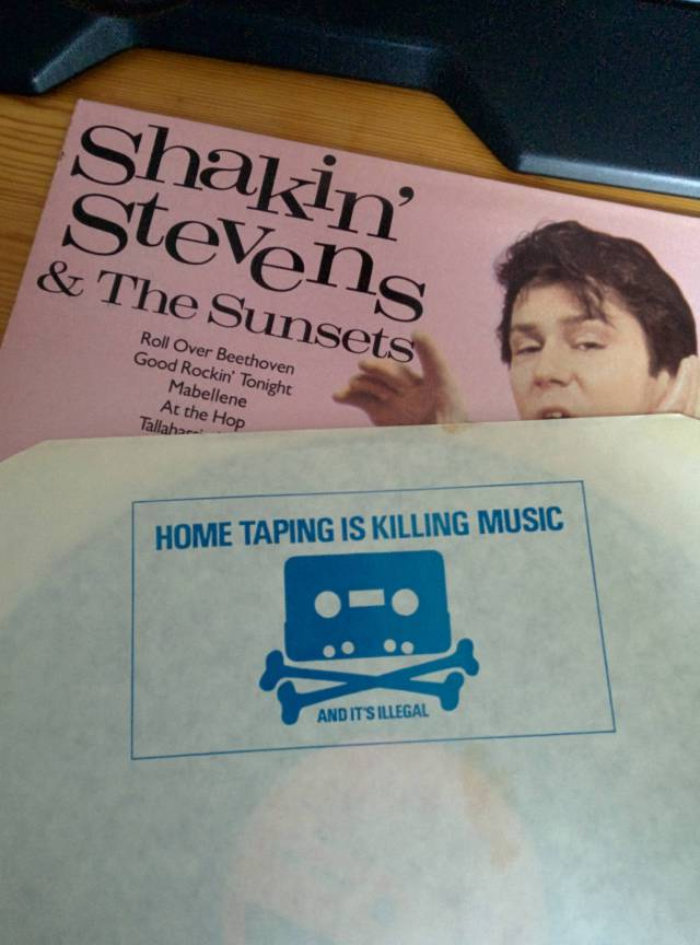 "18 - ""Home taping is killing music"" – backside of a 1972 vinyl sleeve"
