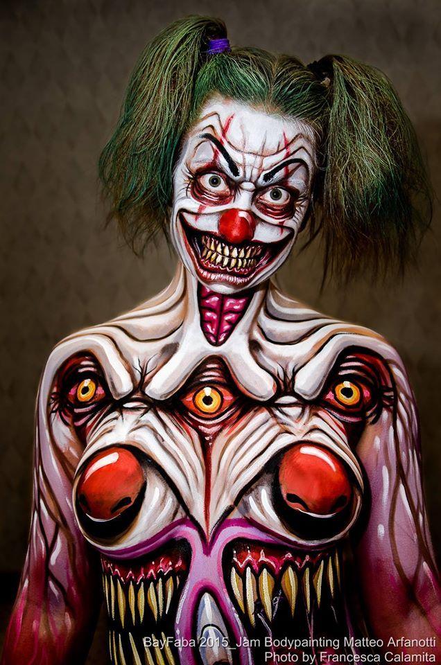 Evil Clowns Body Paint Pics