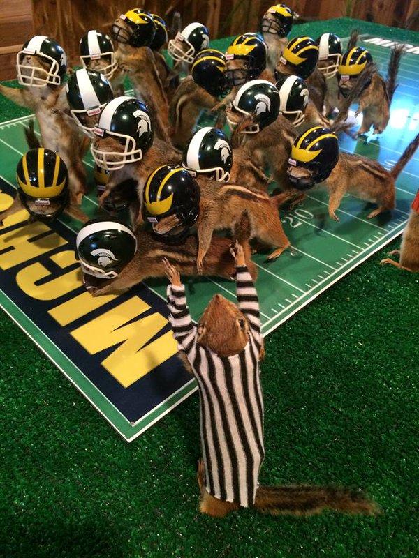 34 - Taxidermist recreates a winning football play with dead chipmunks.