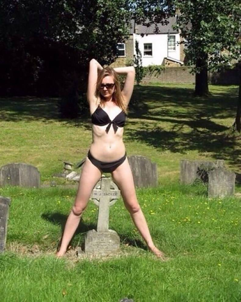 5 - Woman in a bikini over someone's grave stone.