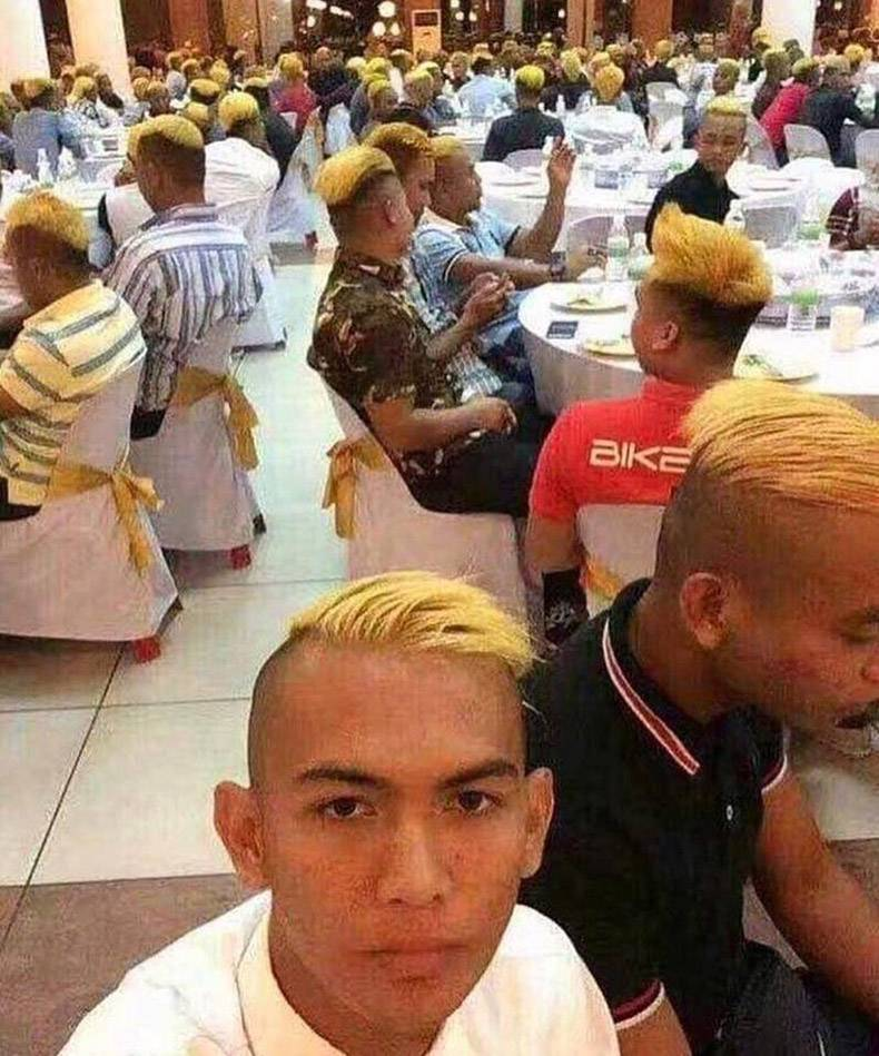 8 - Bunch of dudes with a shaved side and top dyed as blonde.