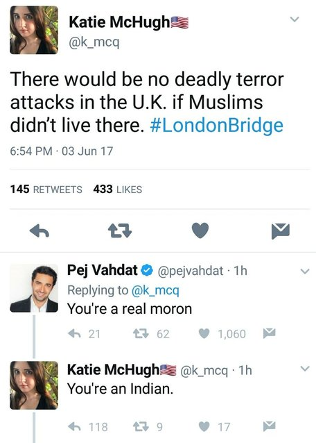 28 - Strange interaction on Twitter and the Terror attack between white girl and Indian.