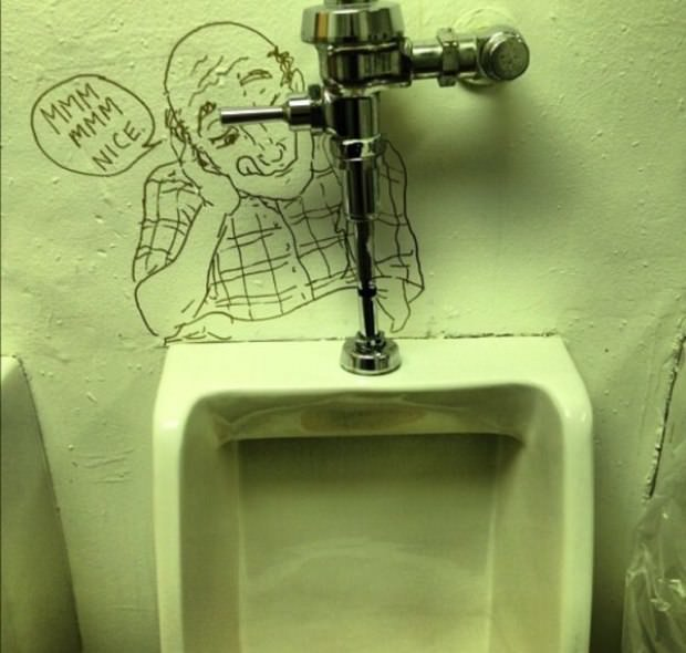 31 - Disturbing old man drawn onto a urinal with a comment that is even more disturbing.