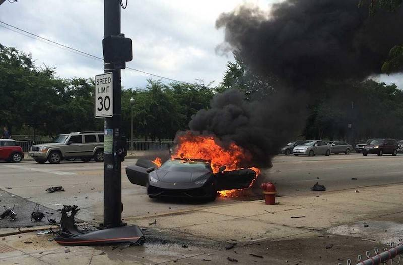 20 - Sports car on fire