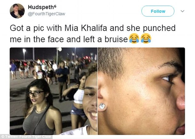 2 - Famous selfie and face of dude who got punched in the face for taking unauthorized selfie with Mia Khalifa And he soon found out what kind of right hook she was packing.