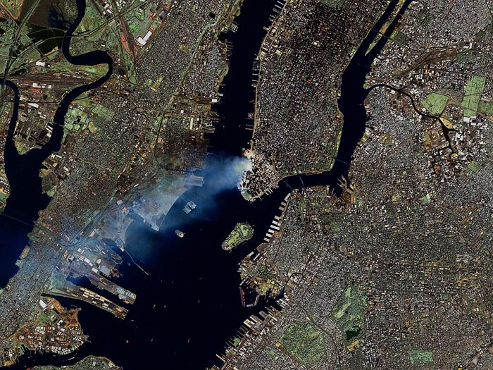 3 - 9/11 manhattan as seen from space.