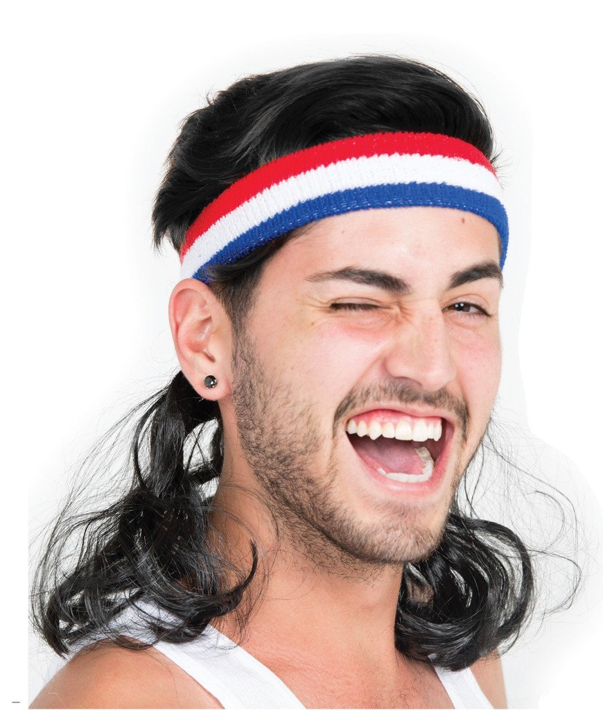 guy with a mullet wearing a red, white and blue headband