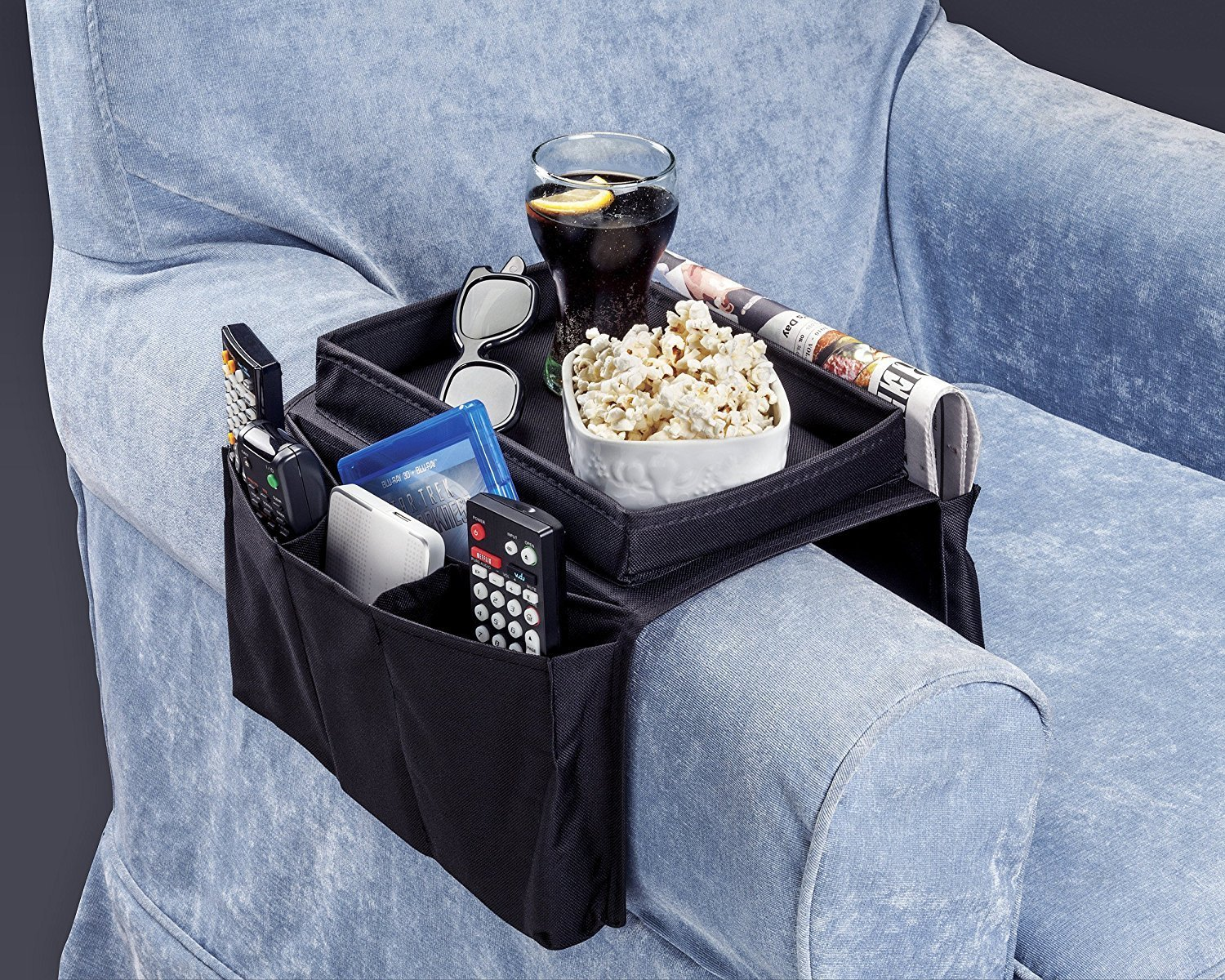 folding tray table to hold everything on your arm chair