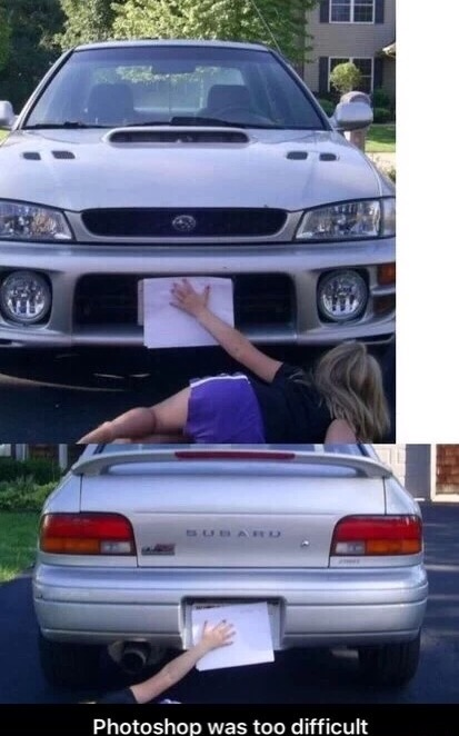 11 - Picture of a car in which a woman is manually holding up a piece of paper to block the license plate.