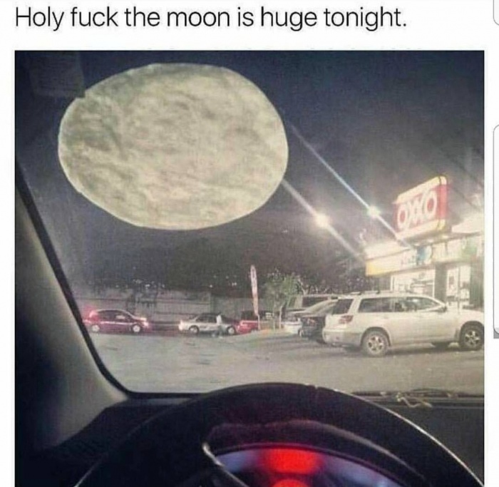19 - Meme of a huge moon which is just a tortilla against the window.