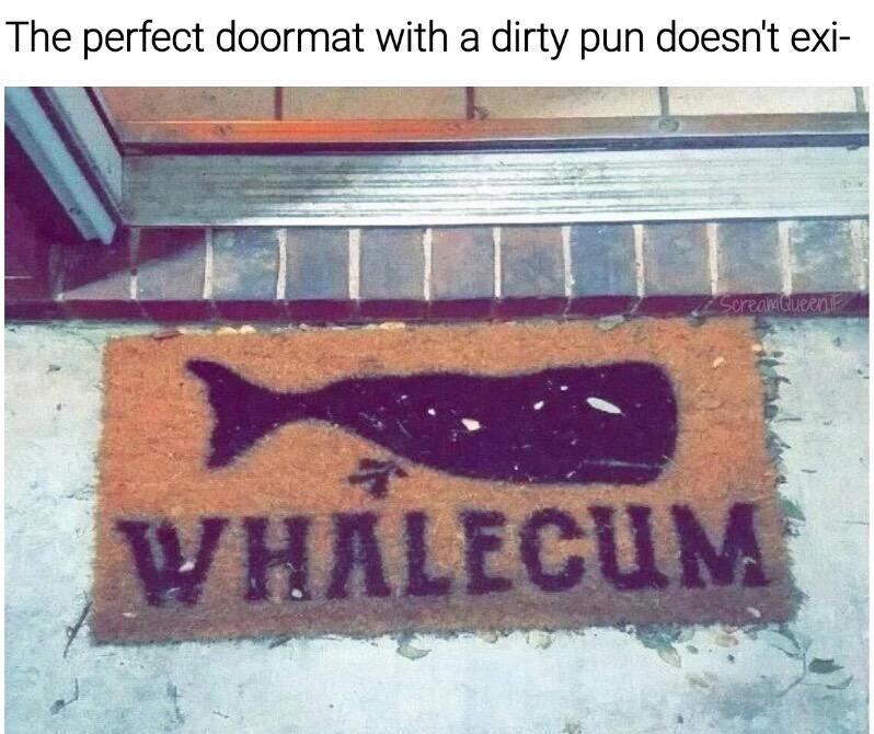 44 - Whalecum door mat pun