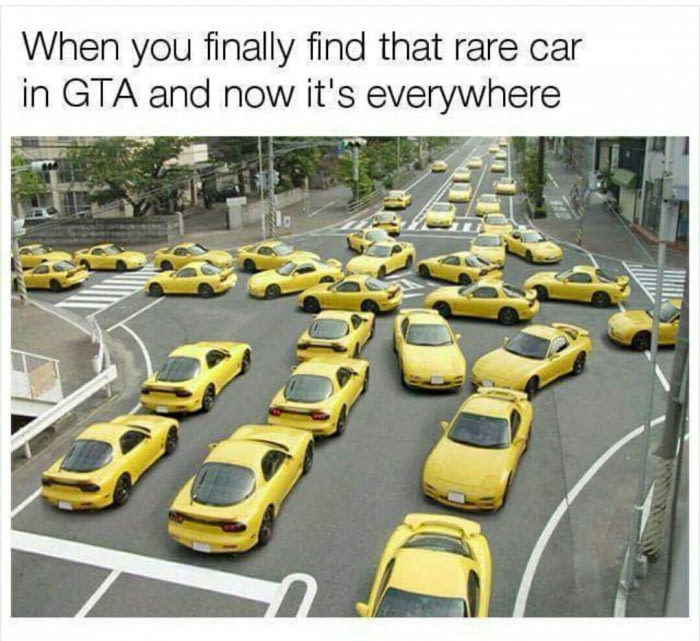 45 - Many yellow cars for meme about GTA and how everyone gets the new car you just found.