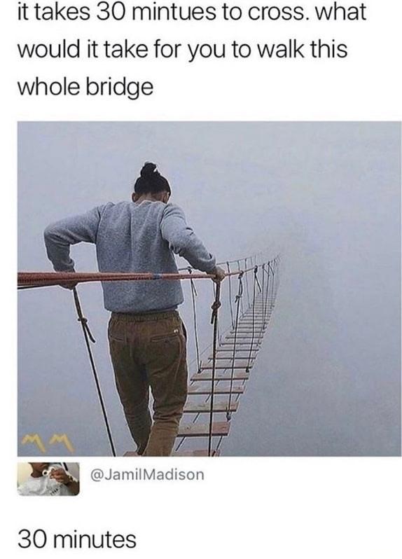 17 - meme of a bridge that takes 30 minutes to cross
