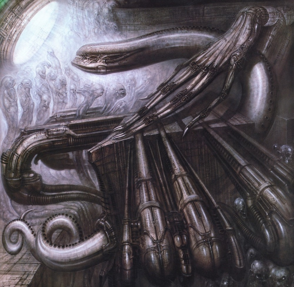 H R Giger Glass Paintings
