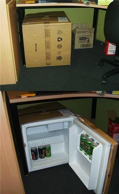 how to hide a mini fridge at work