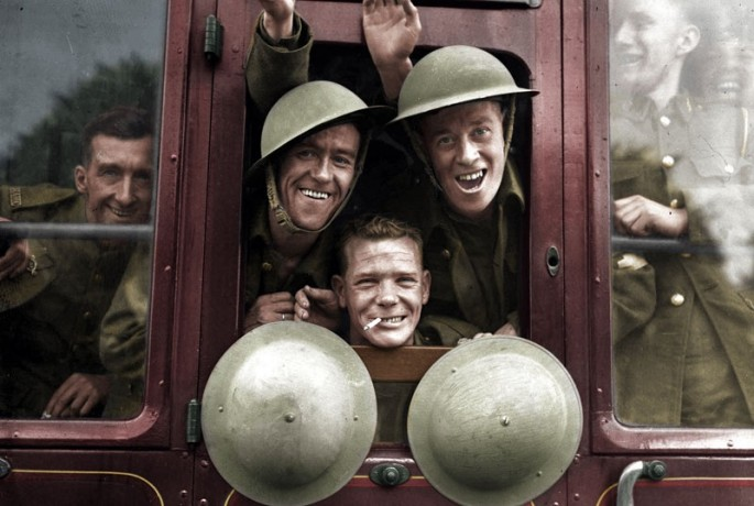 3 -  British Troops Board Their Train for the Front, 1939