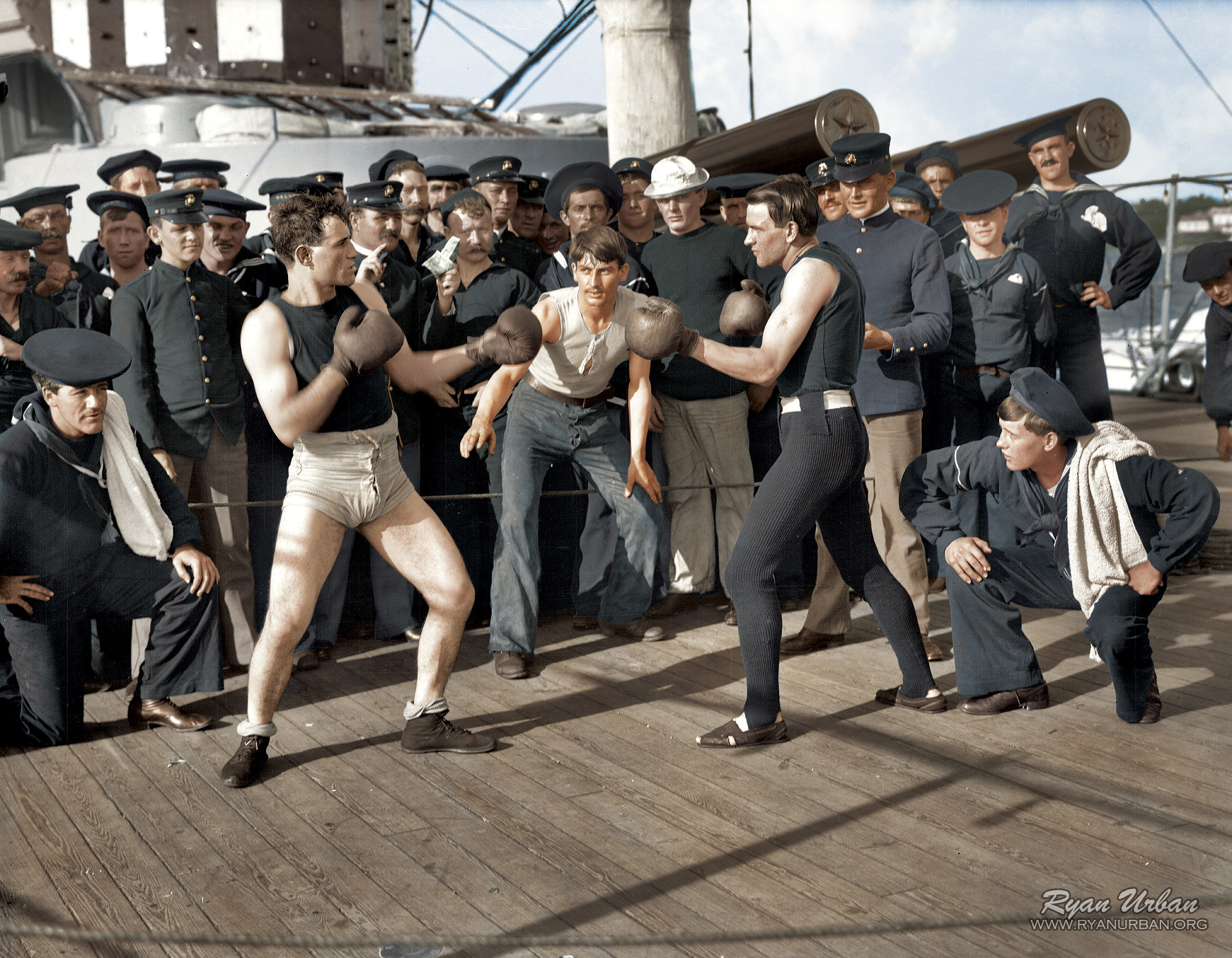 10 -  A boxing match aboard the U.S.S. New York 1899