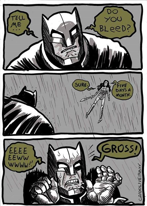 6 - Batman VS Wonderwoman meme in which he asks her if she even bleeds and she answers about 4 to 5 days each month and he is all grossed out.