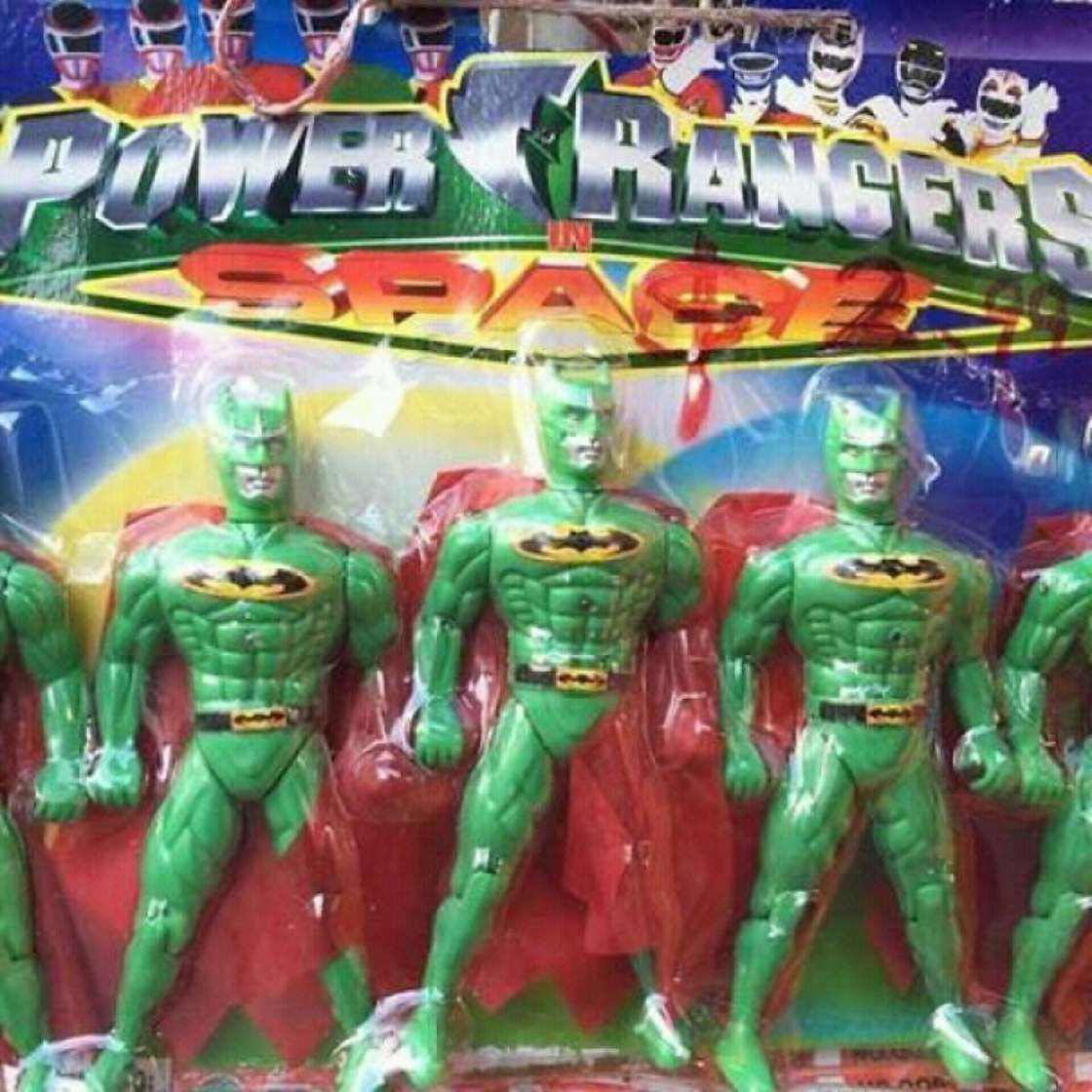 21 - Power rangers toys that looks like strange green batmen.