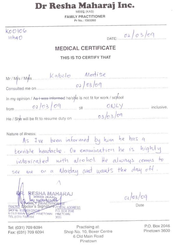 Doctors Notes For Work Doctors note for school