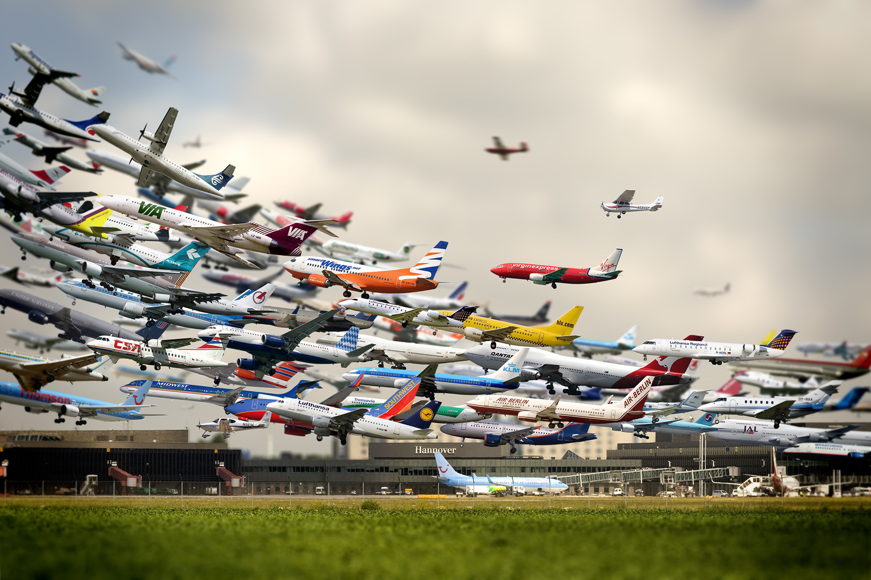 6 -  A multiple exposure shot of various airplanes taking off at the Hannover Airport.