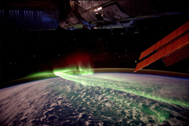 20 -  A shot of the northern lights from outer space.