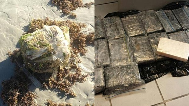 9 -  Someone stumbled upon 20 kilos of cocaine and 20 pounds of pot on New Smyrna Beach, Florida.