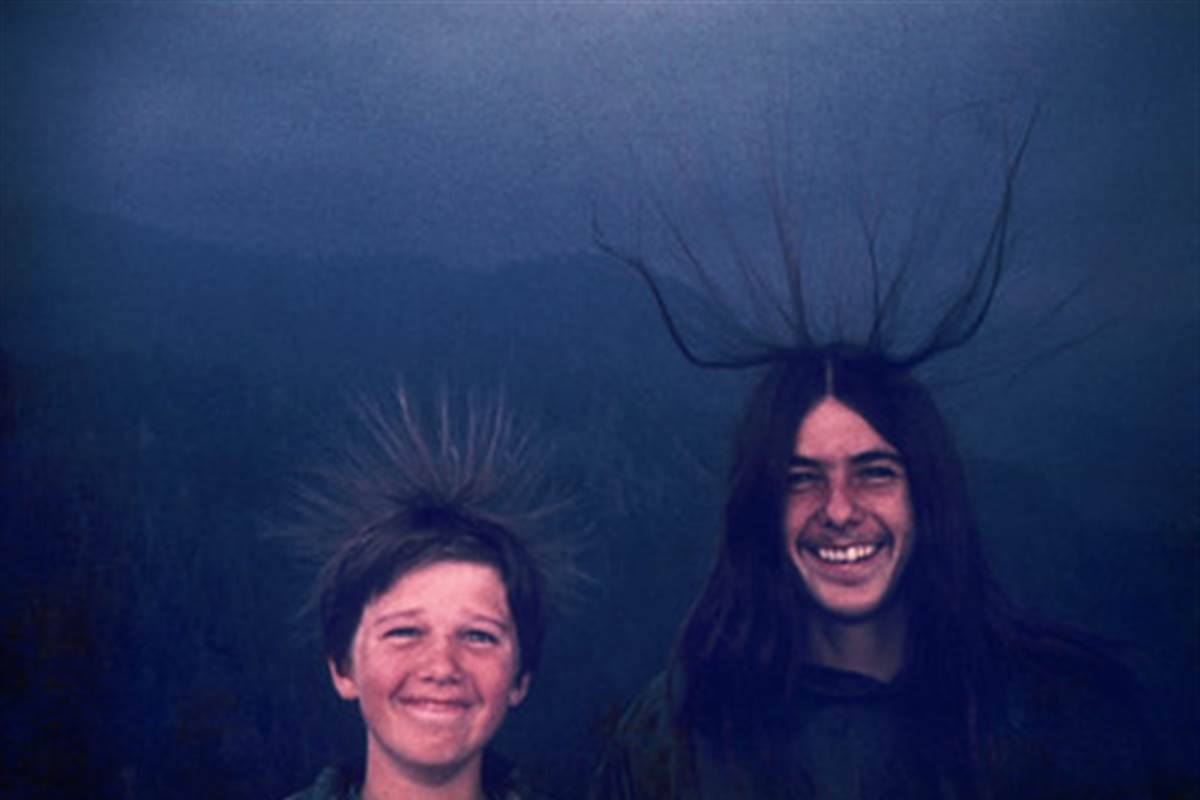 2 - Two brothers pose for a photo in Sequoia National Park moments before getting struck by lightning in August, 1975