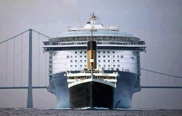 10 - The Titanic compared to a modern Cruise Ship