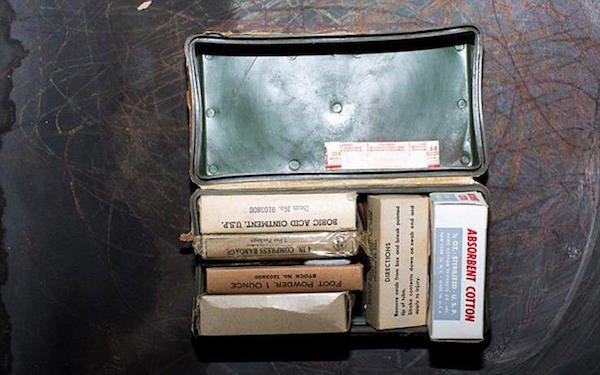 16 -  First Aid kit, with various powders and ointments. This was a common thing to find in Cold War Era fallout shelters.
