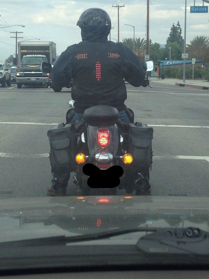 A motorcycle jacket with with signal and brake lights.