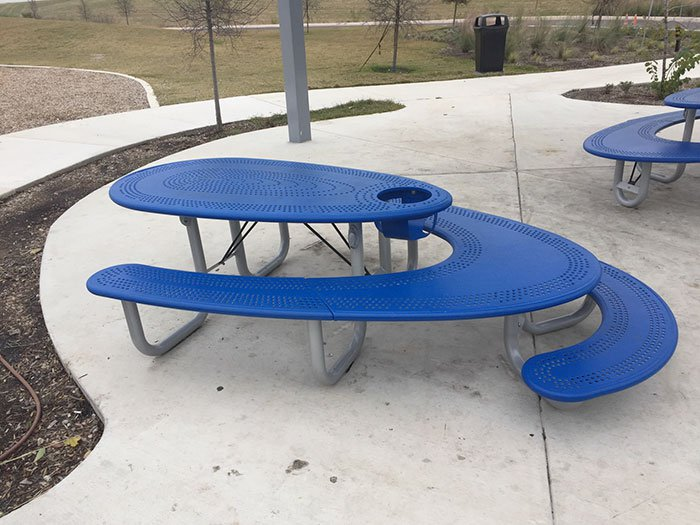 This picnic table offers seating for adults, a high chair and a kids table all in one.