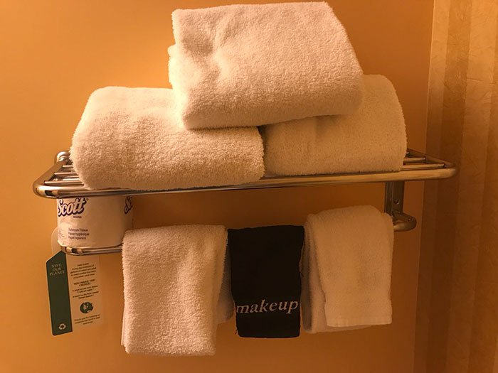 This hotel offers makeup towels that won't show all the smudges.