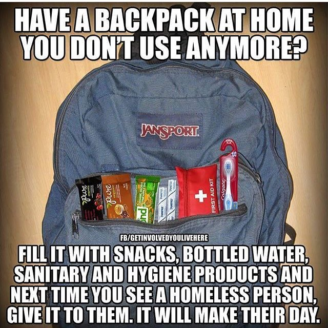 2 - Meme about filling up an old backpack with snacks and giving it to a homeless person.