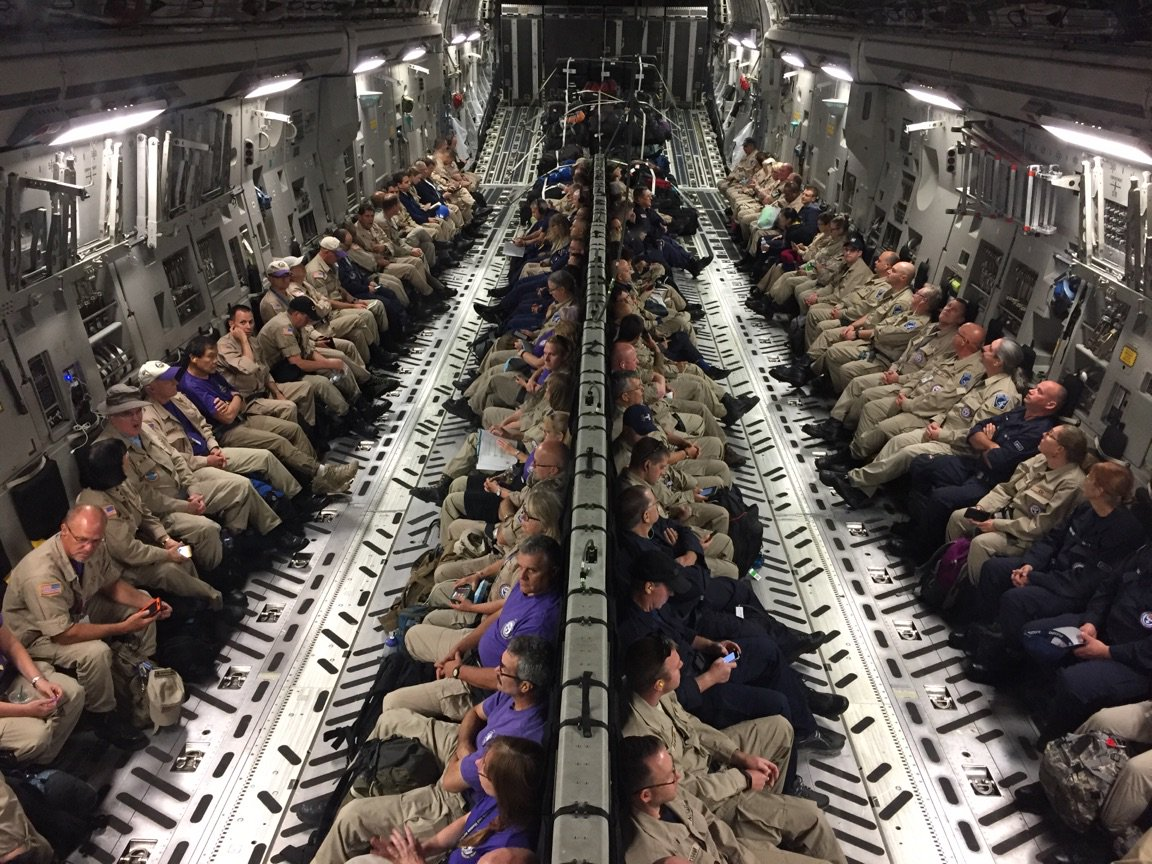 2 - c-17 airplane loaded with doctors and nurses on the way to rescue folks from Hurricane Irma 300 doctors, nurses, and paramedics await takeoff on a C-17 before heading to Orlando for Hurricane Irma response