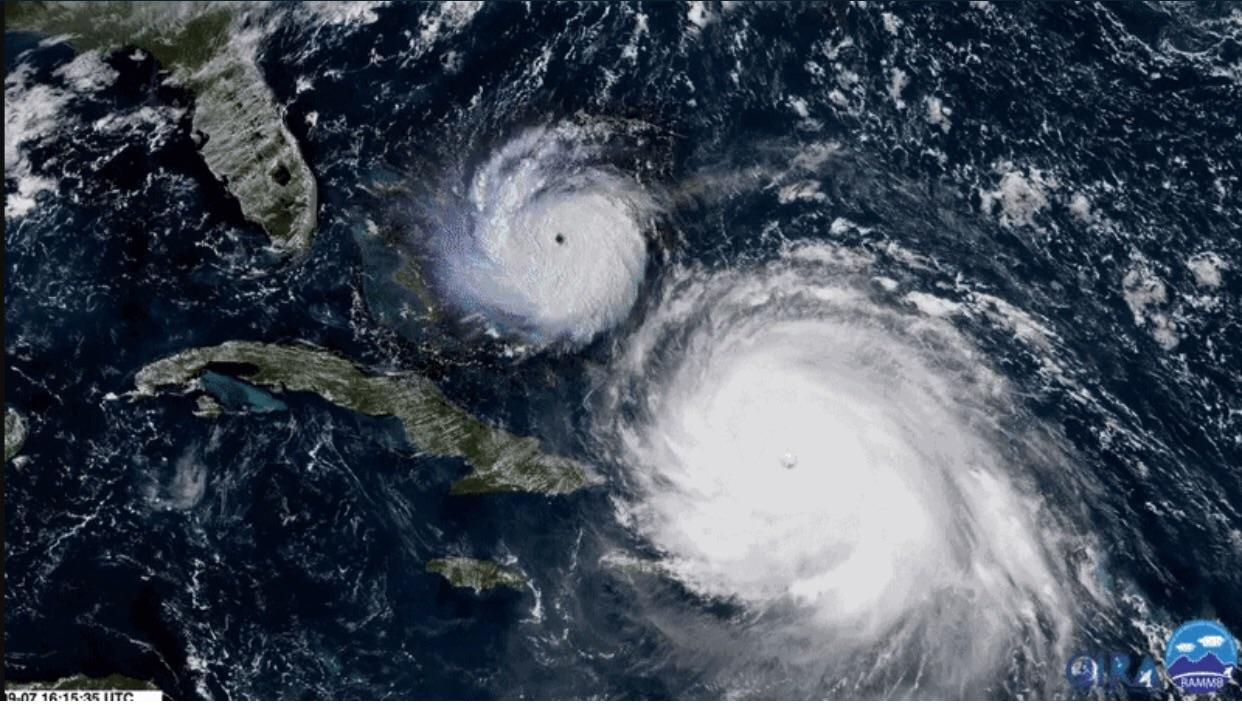 12 - Side by side comparison of Hurricane's Imra and Andrew. Hurricane Irma (right) compared to Hurricane Andrew in 1992. Both category 5