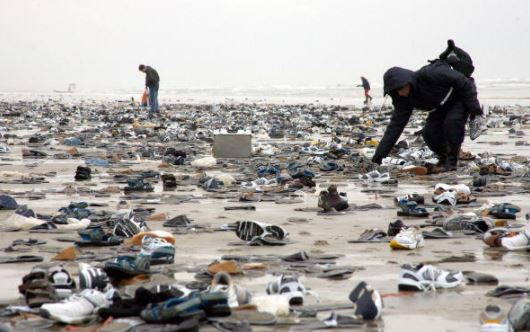 13 - Thousands of shoes on Dutch Island of Terschelling
