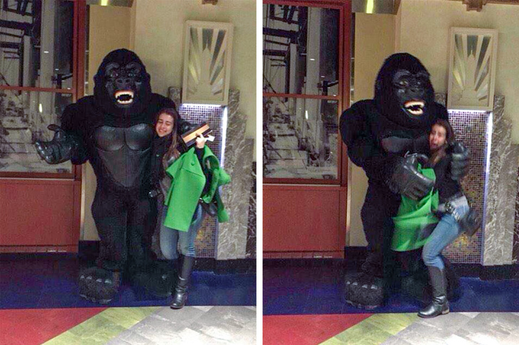"""1 - """"I was taking a pic with King Kong when he hugged me."""""""