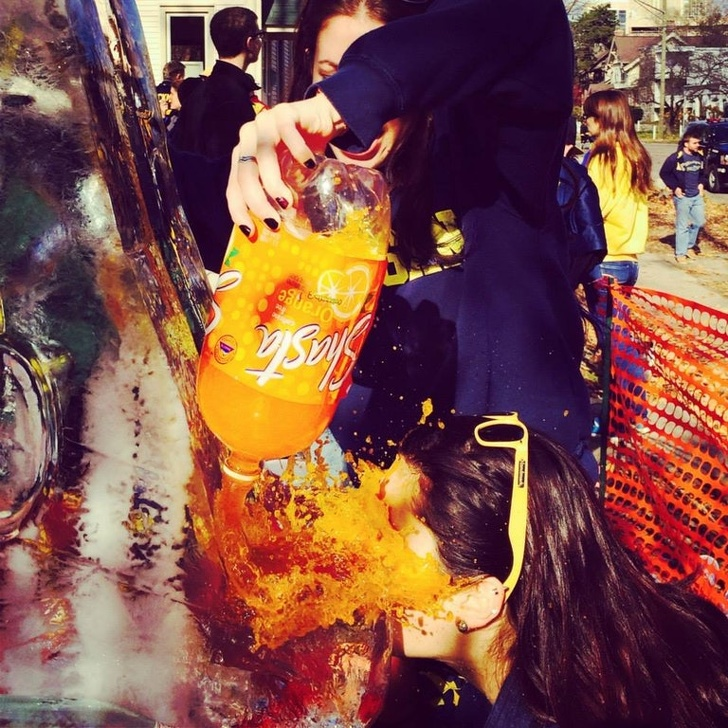 """4 - """"My one friend 'helping' my other friend use an ice luge to drink at a party..."""""""